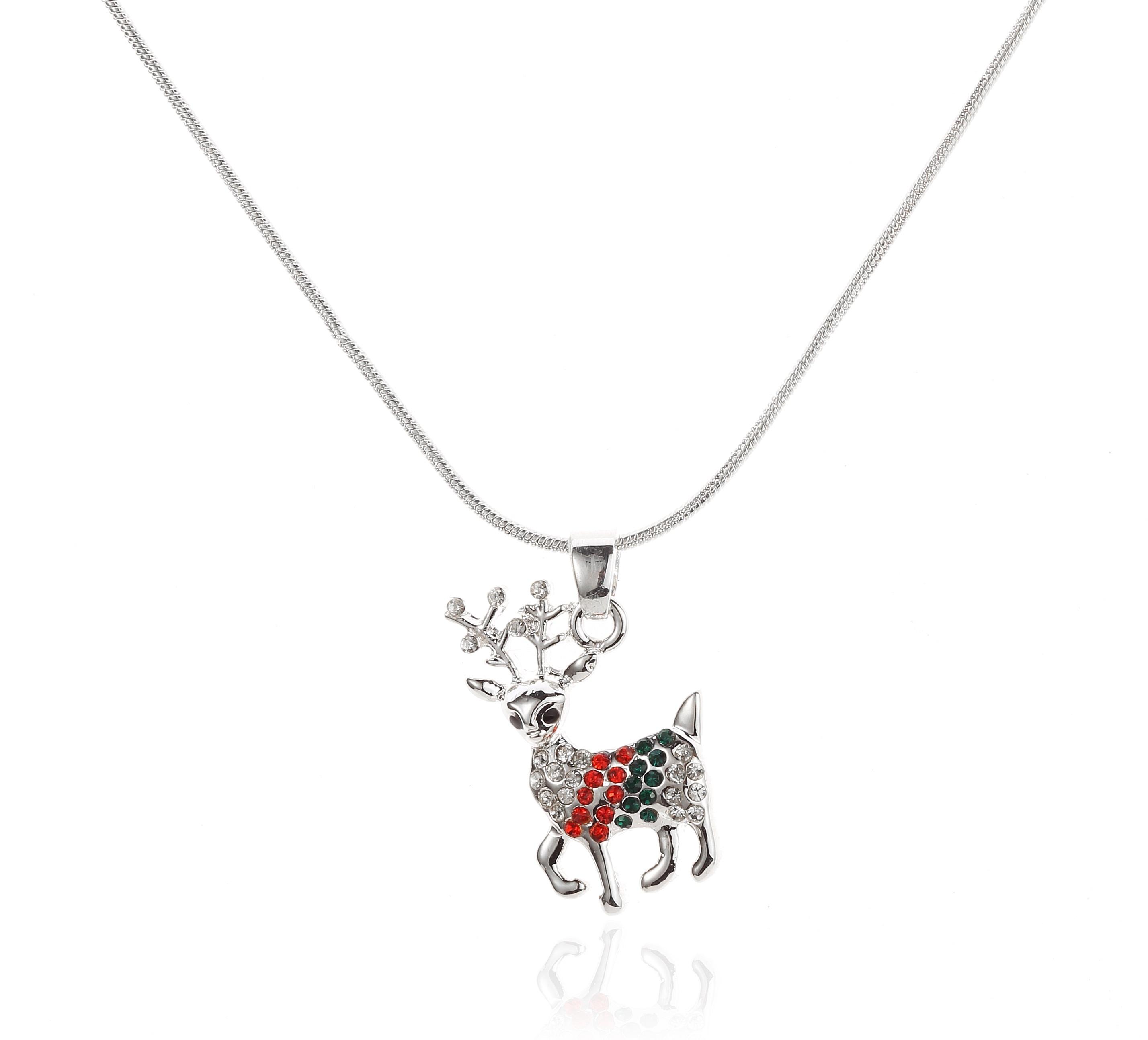 Swarovski Elements Reindeer Pendant Necklace