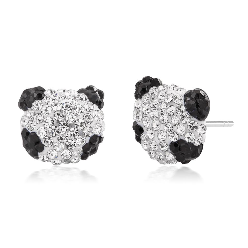 Black  amp  White Crystal Panda  Stud Earrings