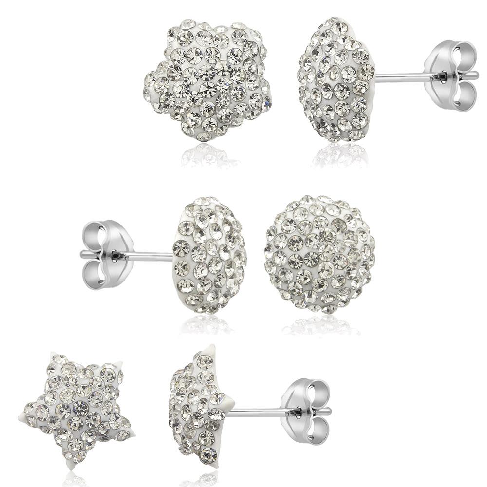 3-Pack Sterling Silver  amp  Crystal Stud Earrings - 4 Colors