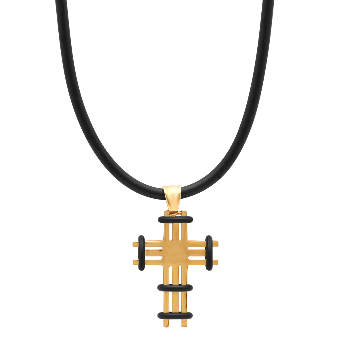 Black Rubber Cross Pendant with Rubber Chain - 2 Colors 5516104
