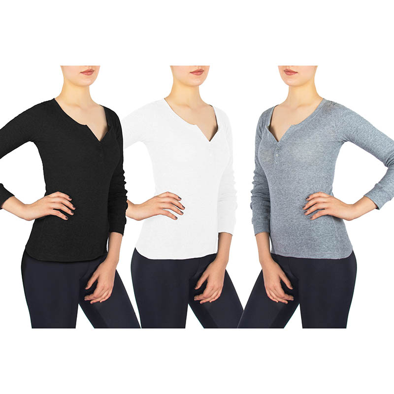 3-Pack: Andrew Scott Ladies Henley Long Sleeve T-Shirt