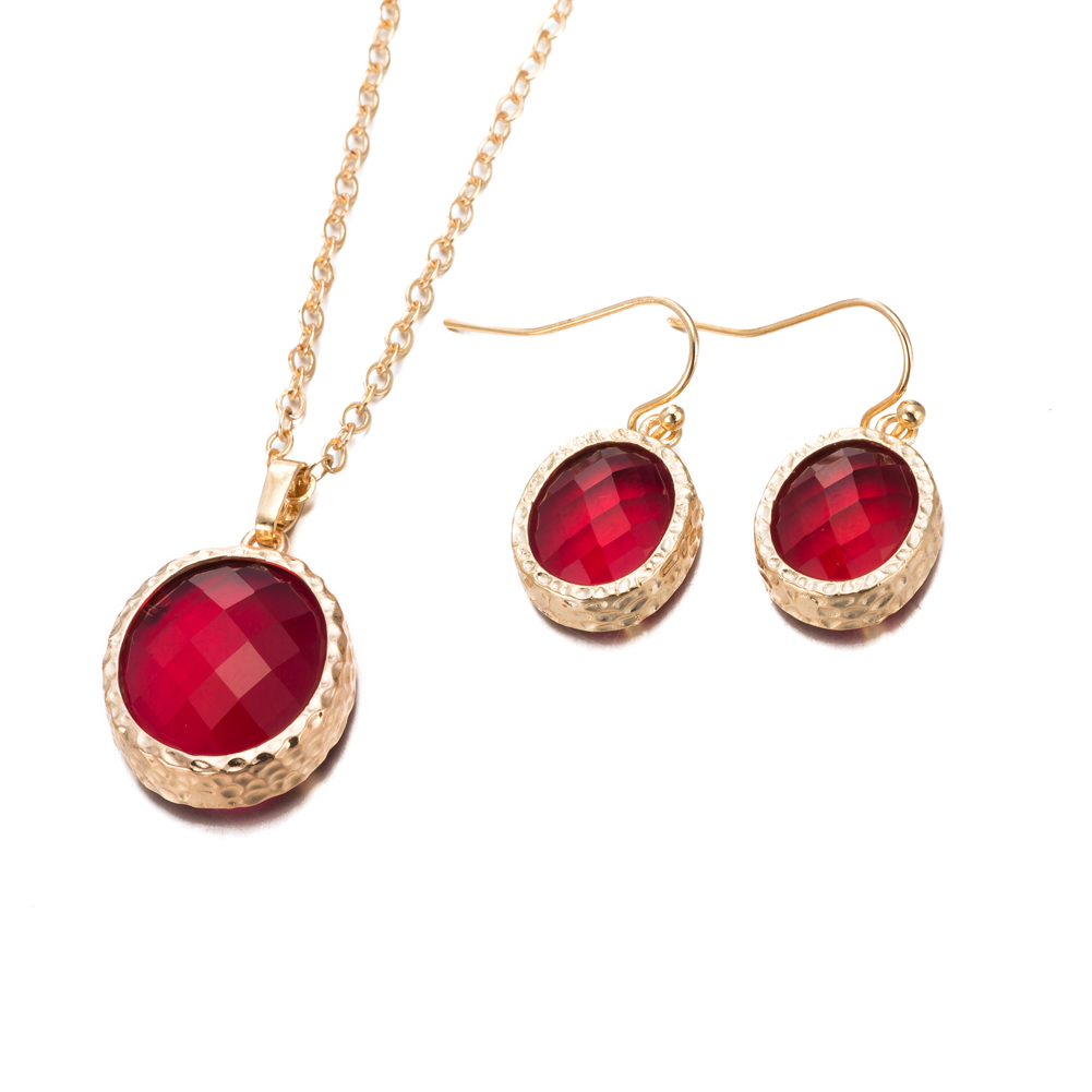 Gold Plated Light Coral Jewels Necklace  amp  Earrings Set