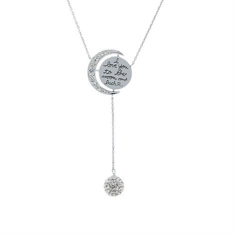 Cubic Zirconia I Love You to The Moon  amp  Back Lariat Necklace
