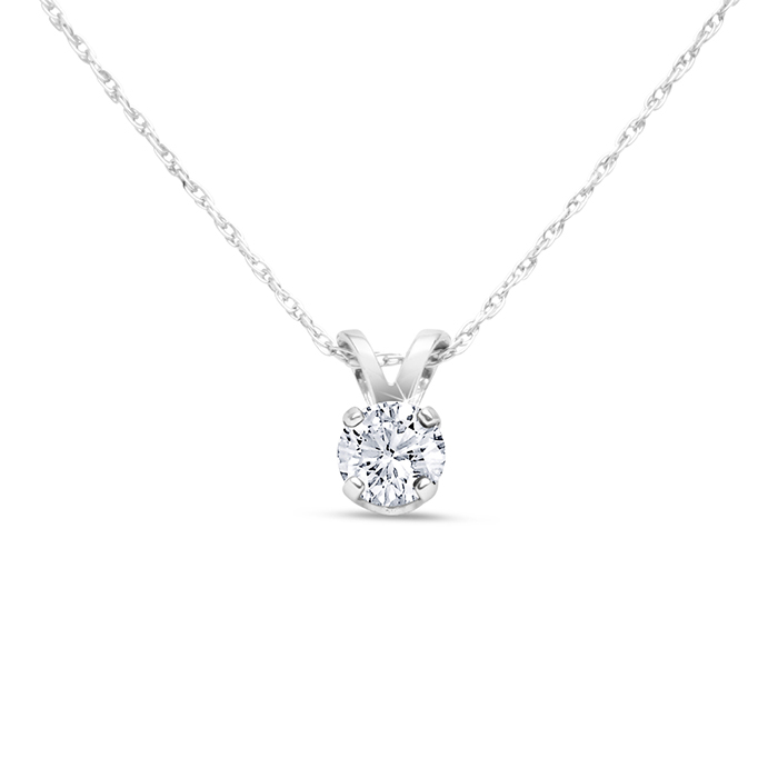 14k White Gold 1 4 Carat Genuine Diamond Solitaire Necklace