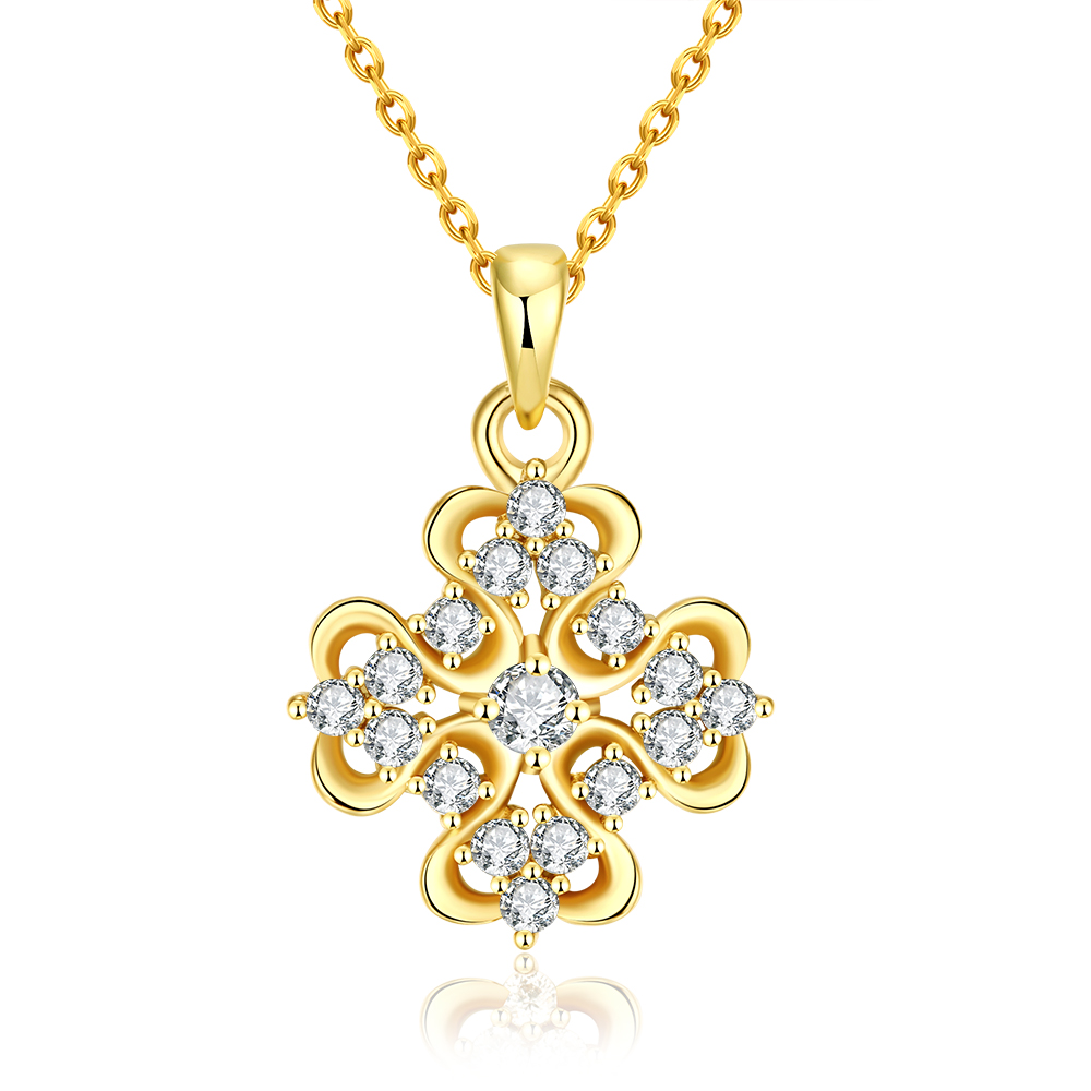 Gold Plated Classic Snowflake Necklace