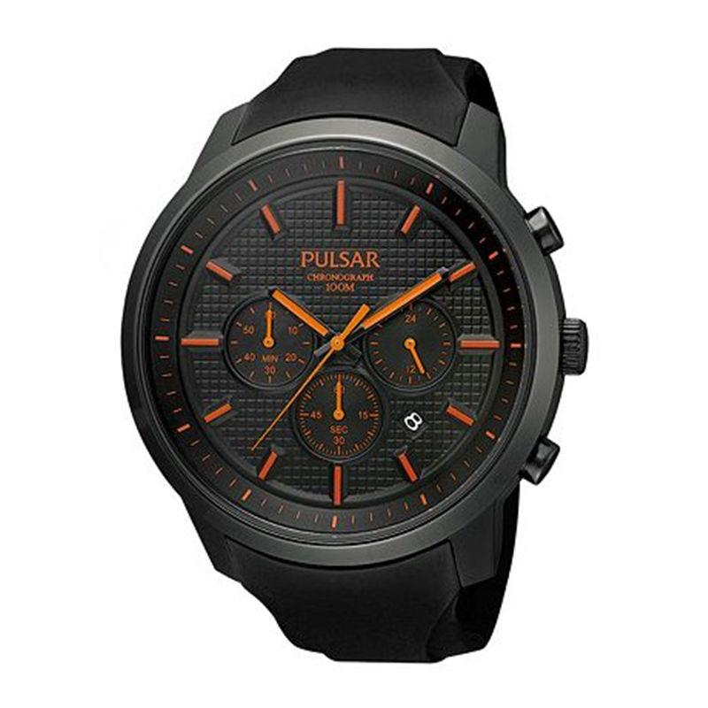 Pulsar Men s Chronograph Black Stainless Steel  amp  Polyuretane Watch PT3