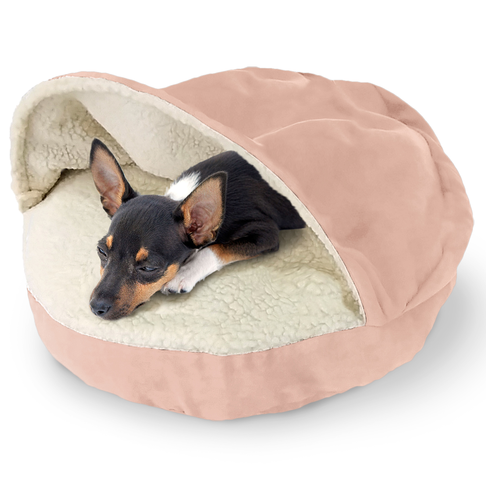 Round Faux Sheepskin Snuggery Pet Bed Tanga