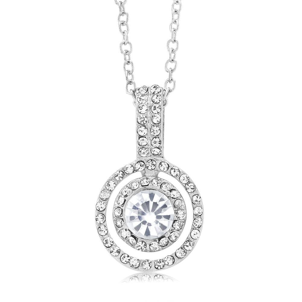 Cubic Zirconia Double Halo Drop Necklace
