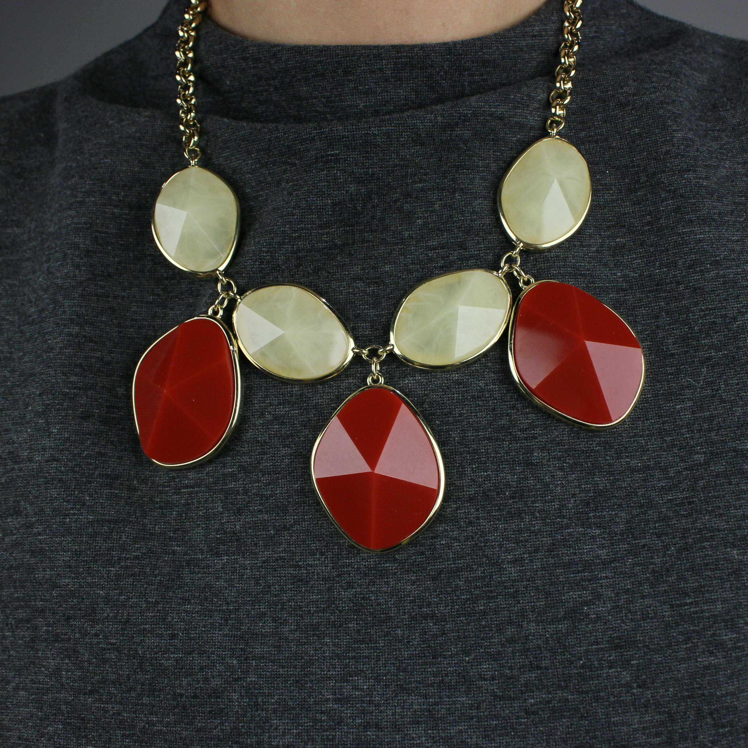Multi Color Resin Bib Statement Necklace
