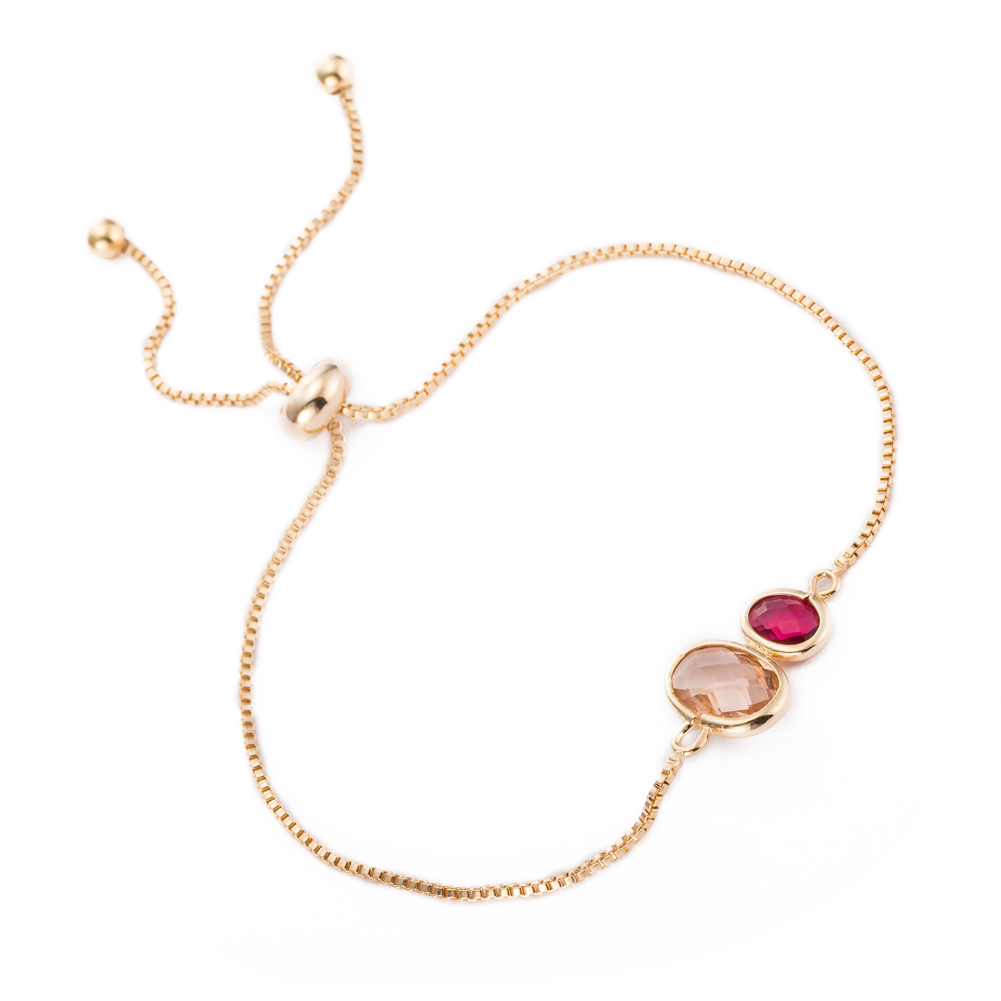 Gold Plated Duo Circular Citrine  amp  Ruby Gem Bracelet