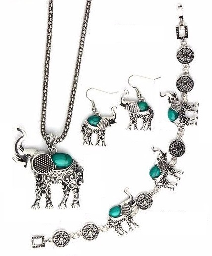 Wisdom And Luck Bestowed Elephant Silver Carved Jewelry Set