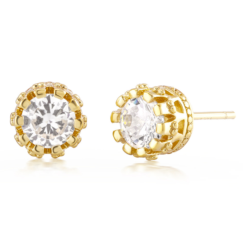 18kt Gold Plated Cubic Zirconia Crown Stud Earrings