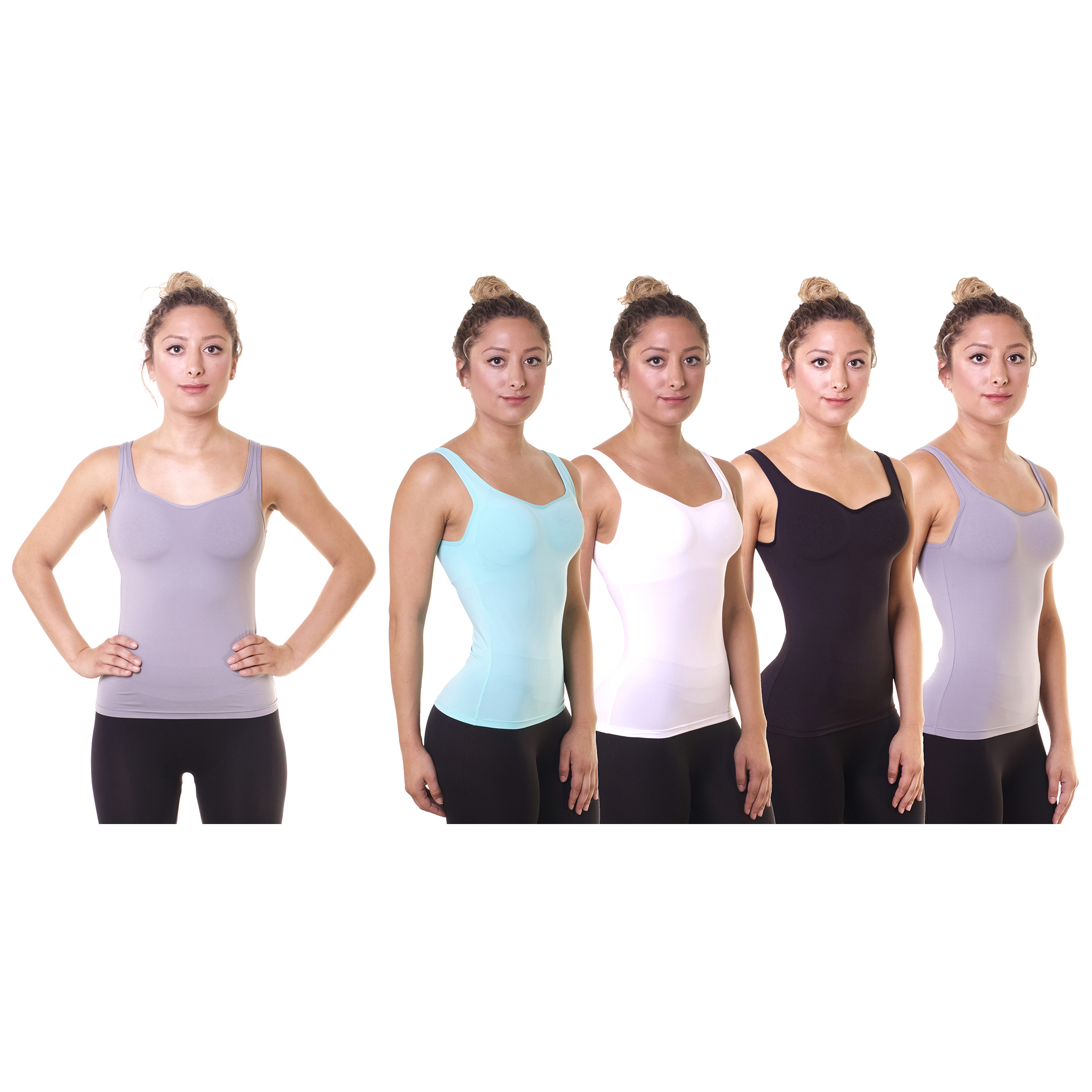 4-Pack Cover Girl Women s Athletic Built-in Bra Support Racerback Tank 55a6a9d1a0f1