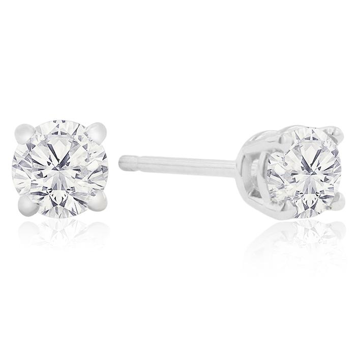 Certified 1 4ct Natural Genuine Diamond Stud Earrings In 10 Karat Whit