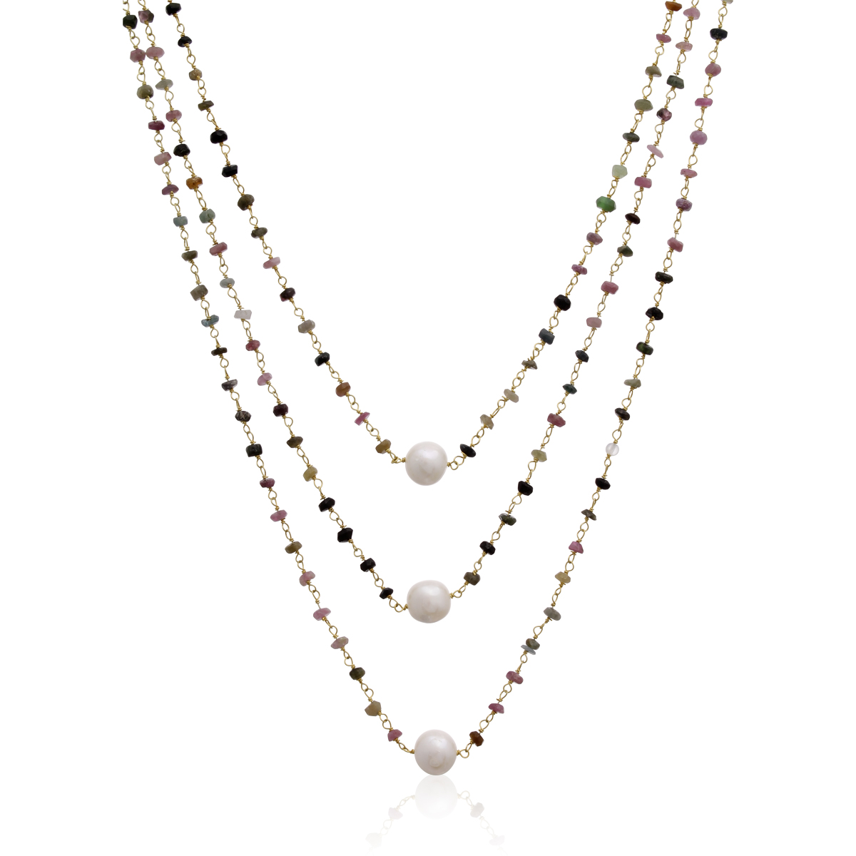 14k Yellow Gold 41ct Pink Tourmaline  amp  Pearl Triple Strand Necklace