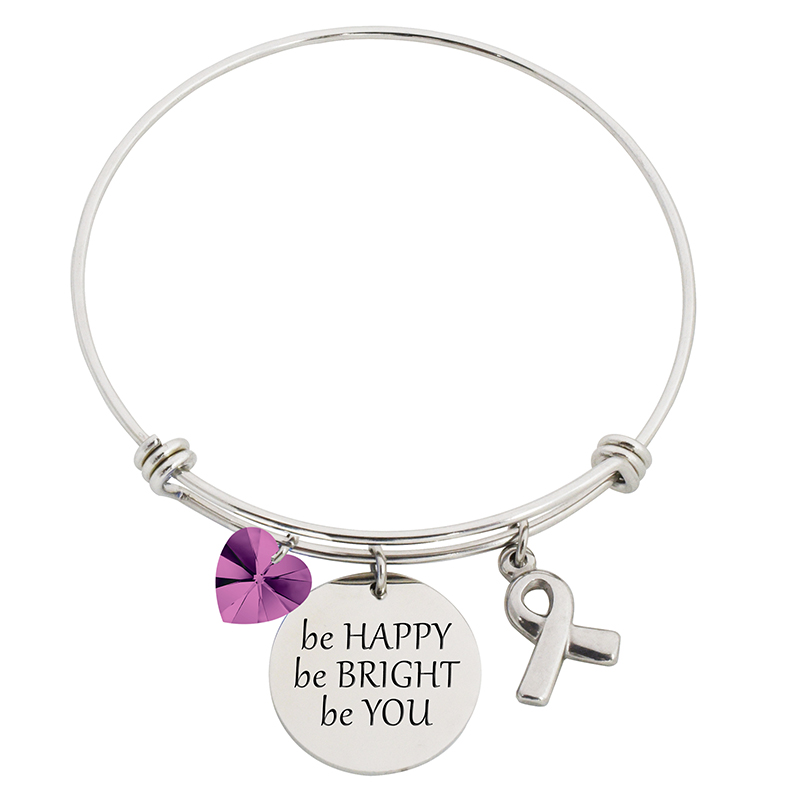 Be Happy Be Bright Be You Steel Bangle Bracelet With Swarovski Charms