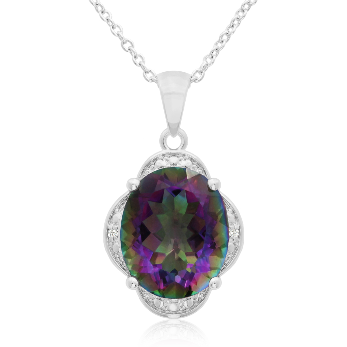 4 3 4 Ct Mystic Topaz And Diamond Necklace