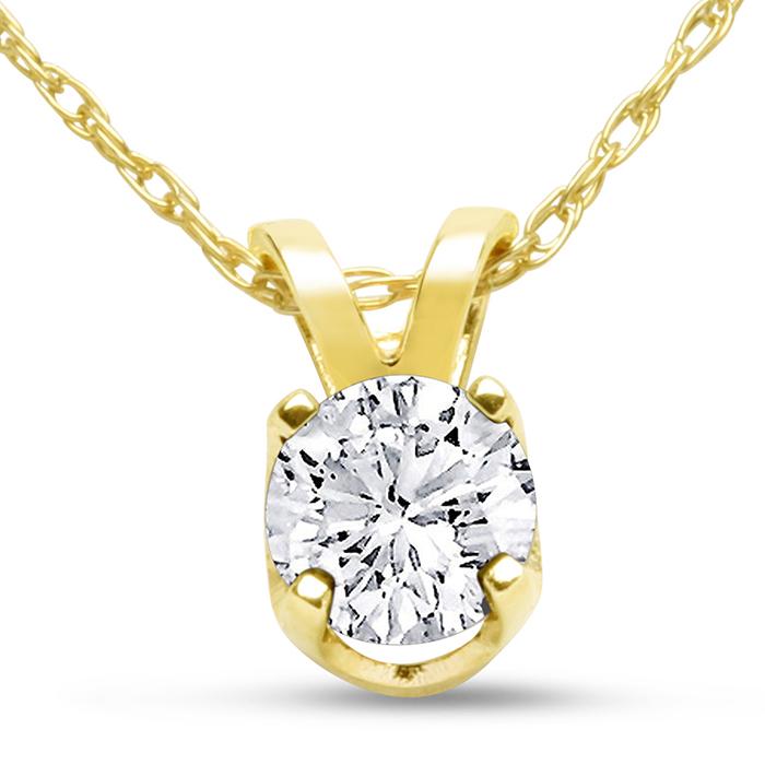 14k Yellow Gold 1 3 Carat Genuine Diamond Solitaire Necklace