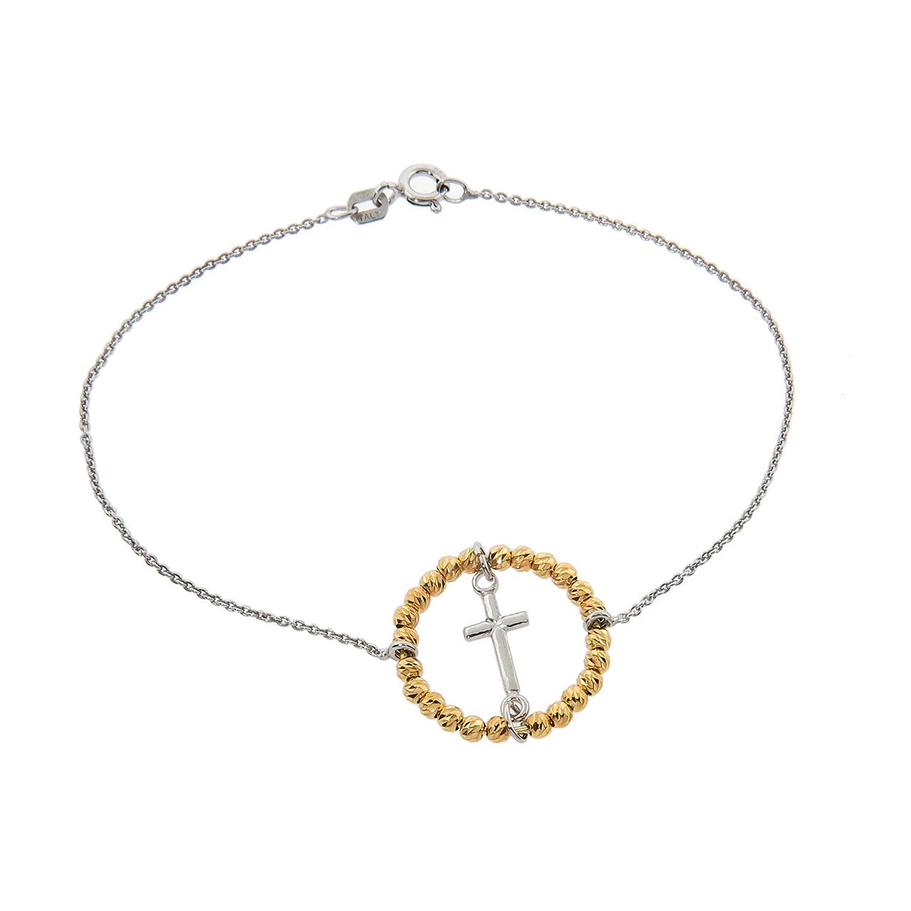 Italian Gold Plated Solid Sterling Silver Diamond Cut Bead Cross Brace