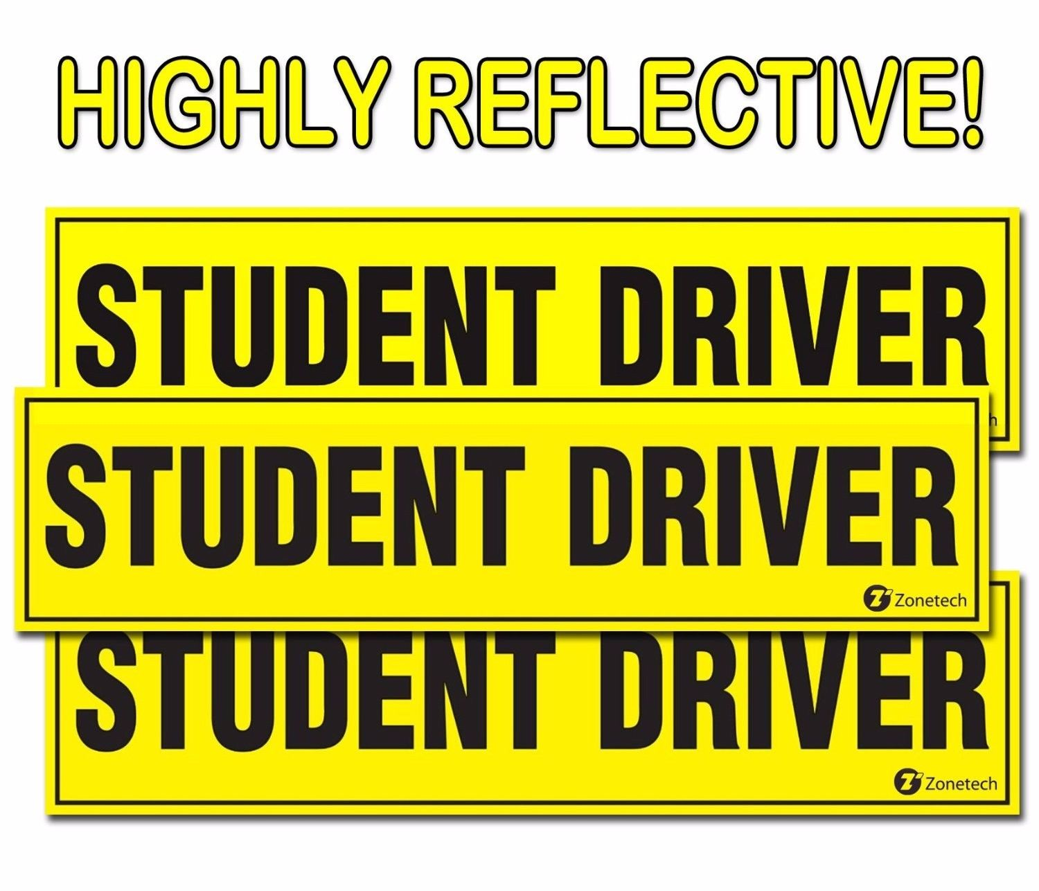 Zone Tech 3x Student Driver Magnets Highly Reflective Vehicle Car Sign