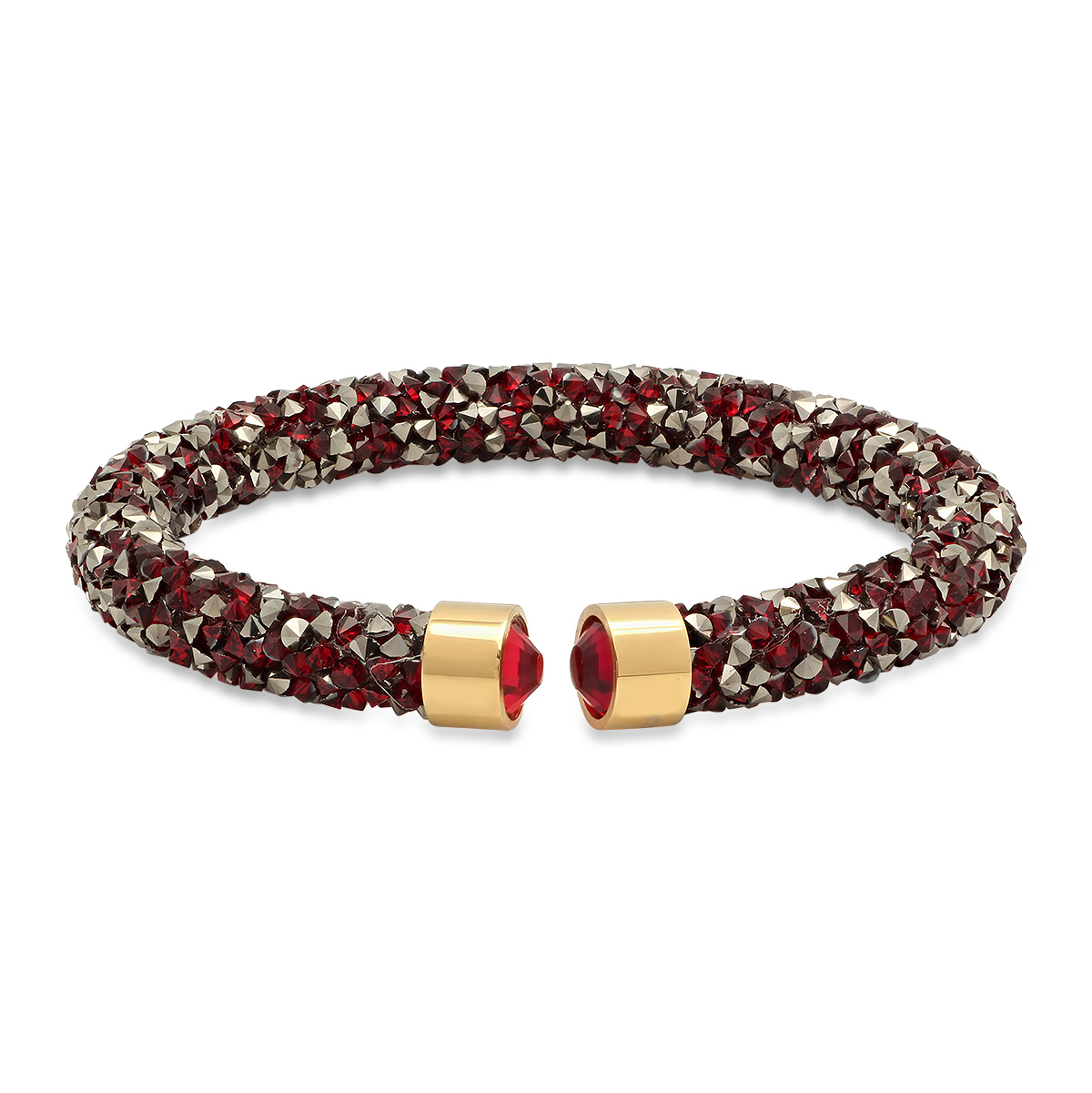 Gold Plated Stainless Steel Gray And Red Crystal Adjustable Cuff Brace