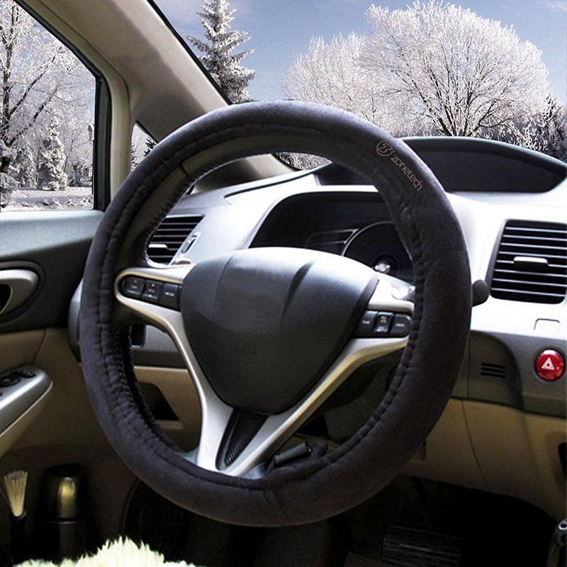 Zone Tech 12v Heating Black Comfortable Heated Steering Wheel Cover Sl