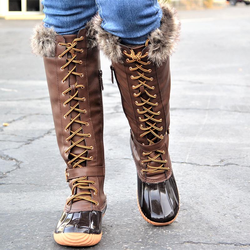 Mata Women S Knee High Insulated Fur Trim Duck Boots