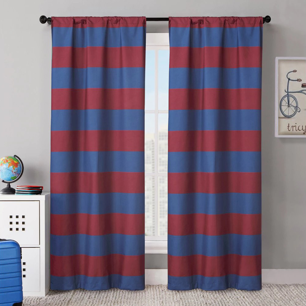 Vcny Rugby Stripe 38 Quot X84 Quot Foamback Blackout Curtain Panel