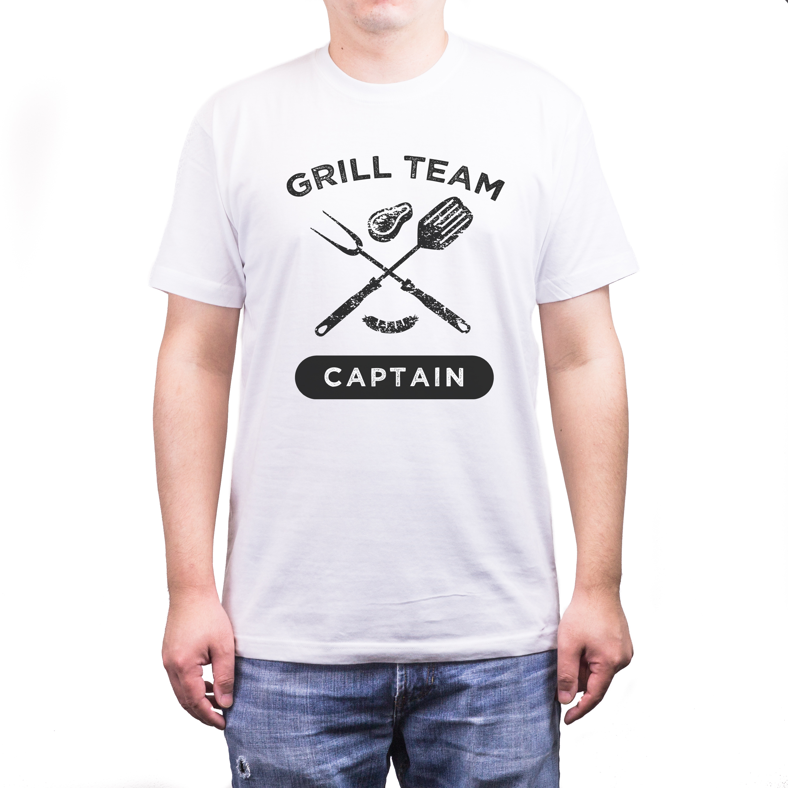 Grill Team Captain Funny White T-Shirt For Dad