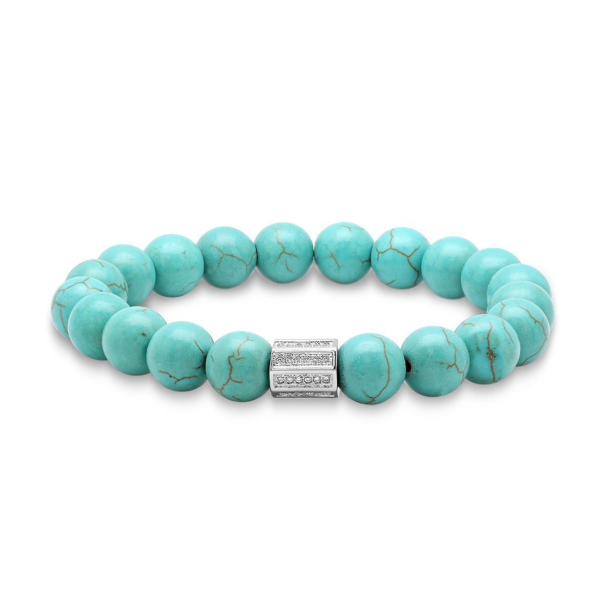 Genuine Turquoise Beaded Bracelet with Bar Bead - Colors 58bb285e1d33