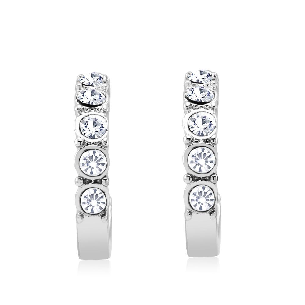 White Gold Plated Crystal Hoop Earrings