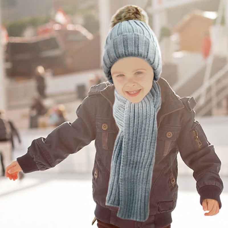 Kid s Winter Knitted Pom Beanie Scarf and Hat Set
