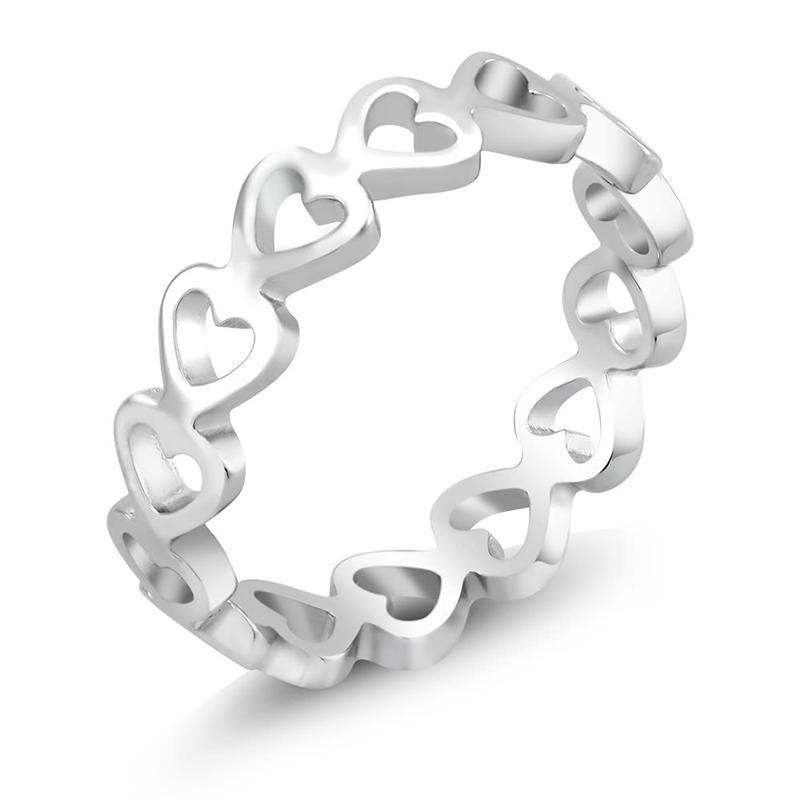 Three Piece Set Heart Eternity Ring