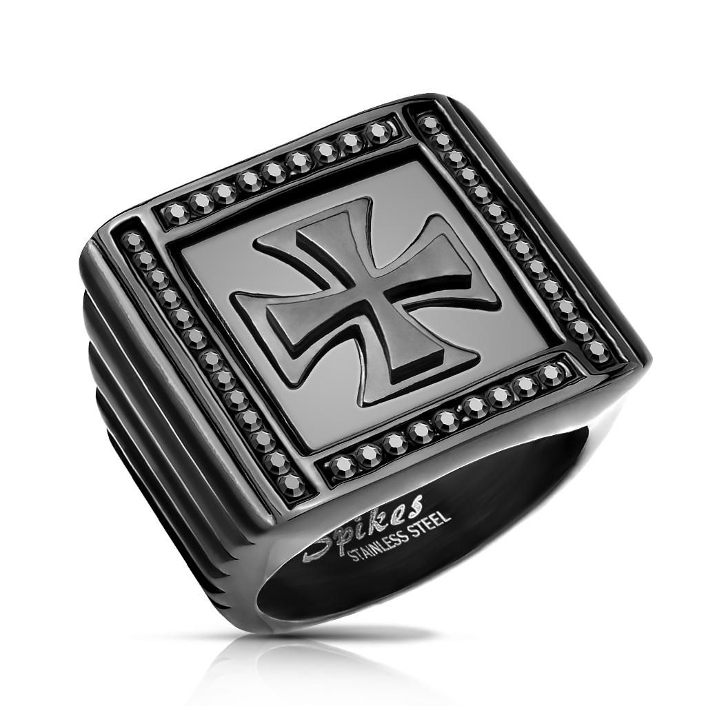 Men s Black Stainless Steel Maltese Cross Ring