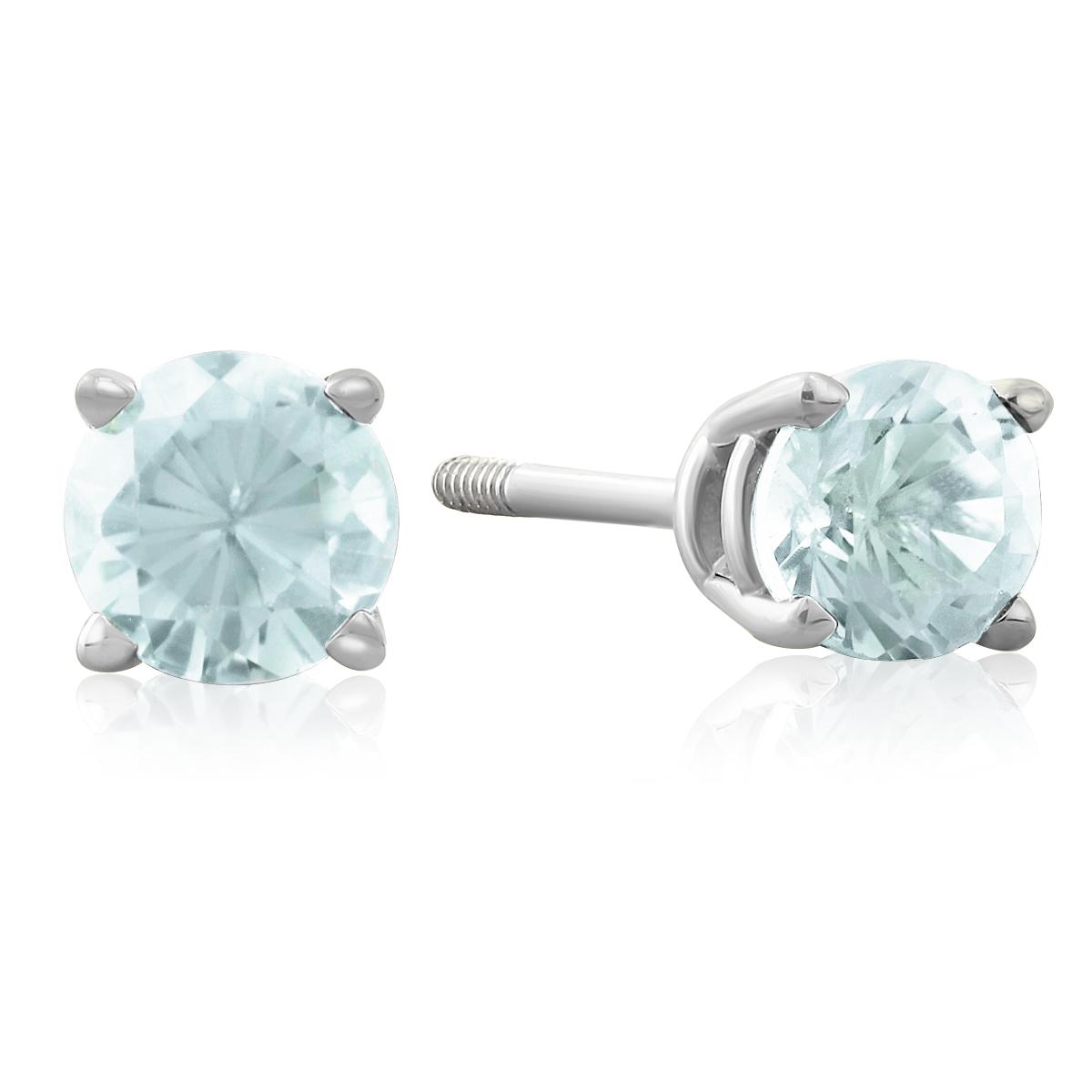 1 2 Carat Blue Topaz Stud Earrings in 14k White Gold