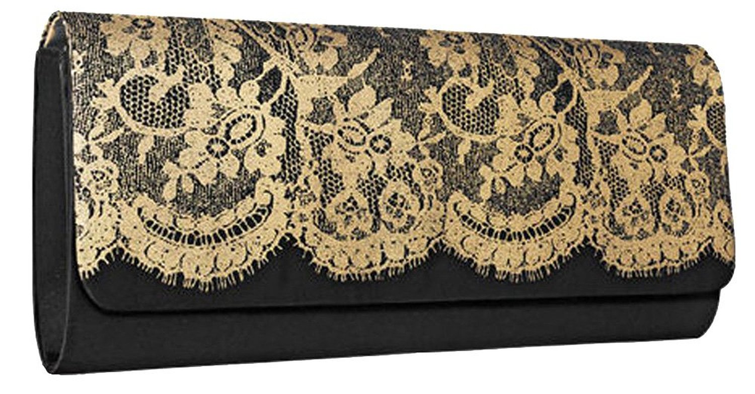 Satin  amp  Lace Black Clutch 57668