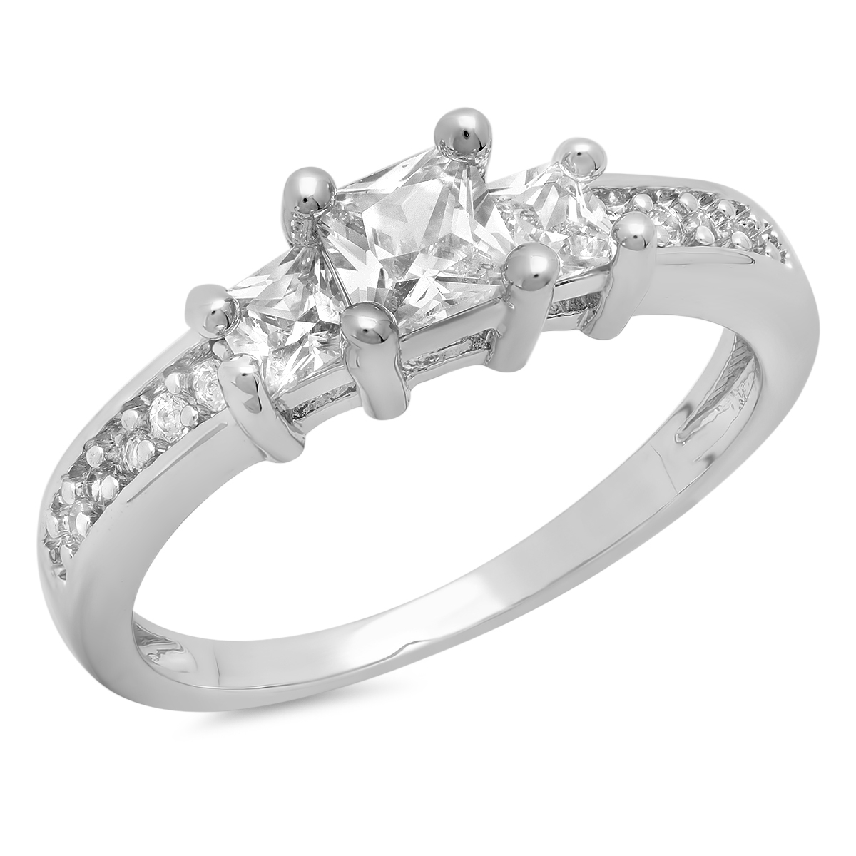 White Gold Plated Cubic Zirconia 3-Stone Engagement Ring