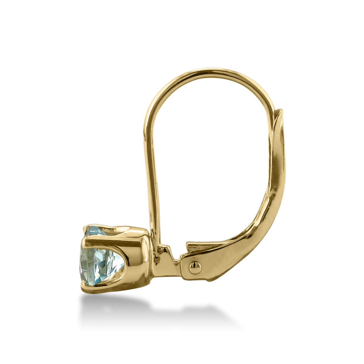 1 2ct Solitaire Aquamarine Leverback Earrings, 14k Yellow Gold