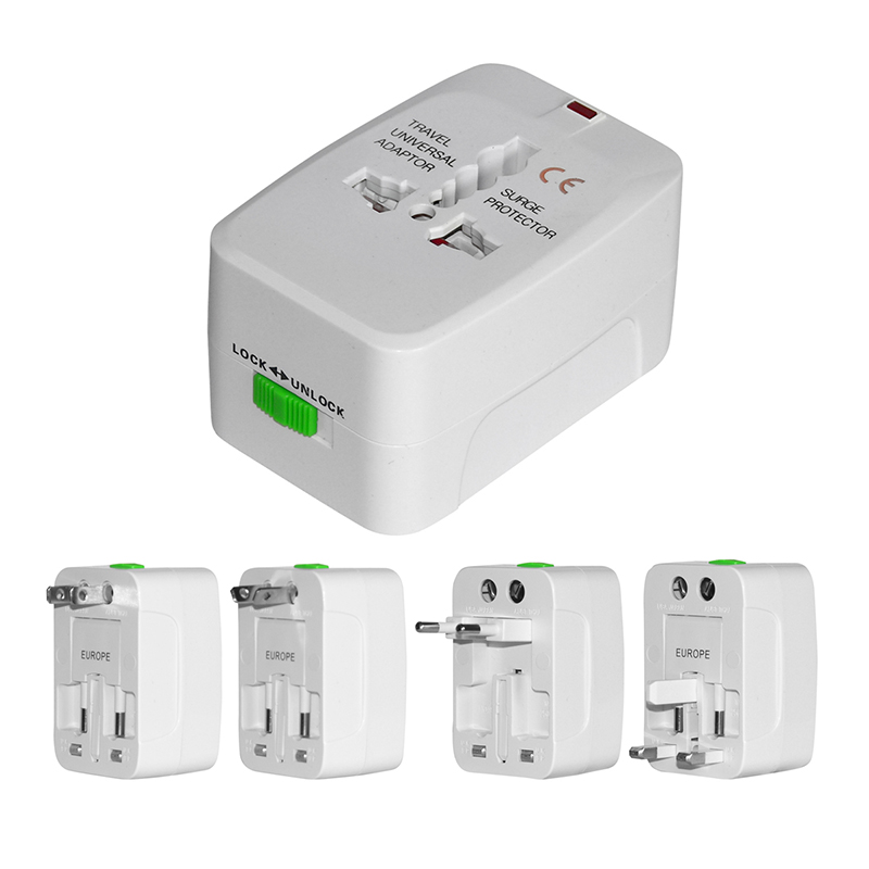2-Pack  International 4-in-1 Travel Voltage Adapter with Surge Protect