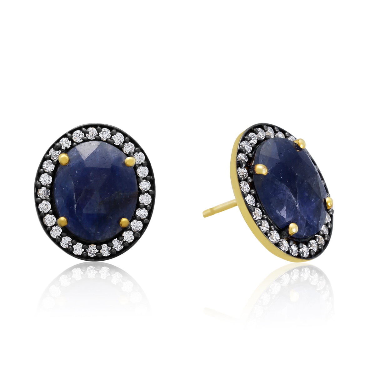 20 Carat Natural Blue Sapphire  Earrings In 18 Karat Gold Over Silver
