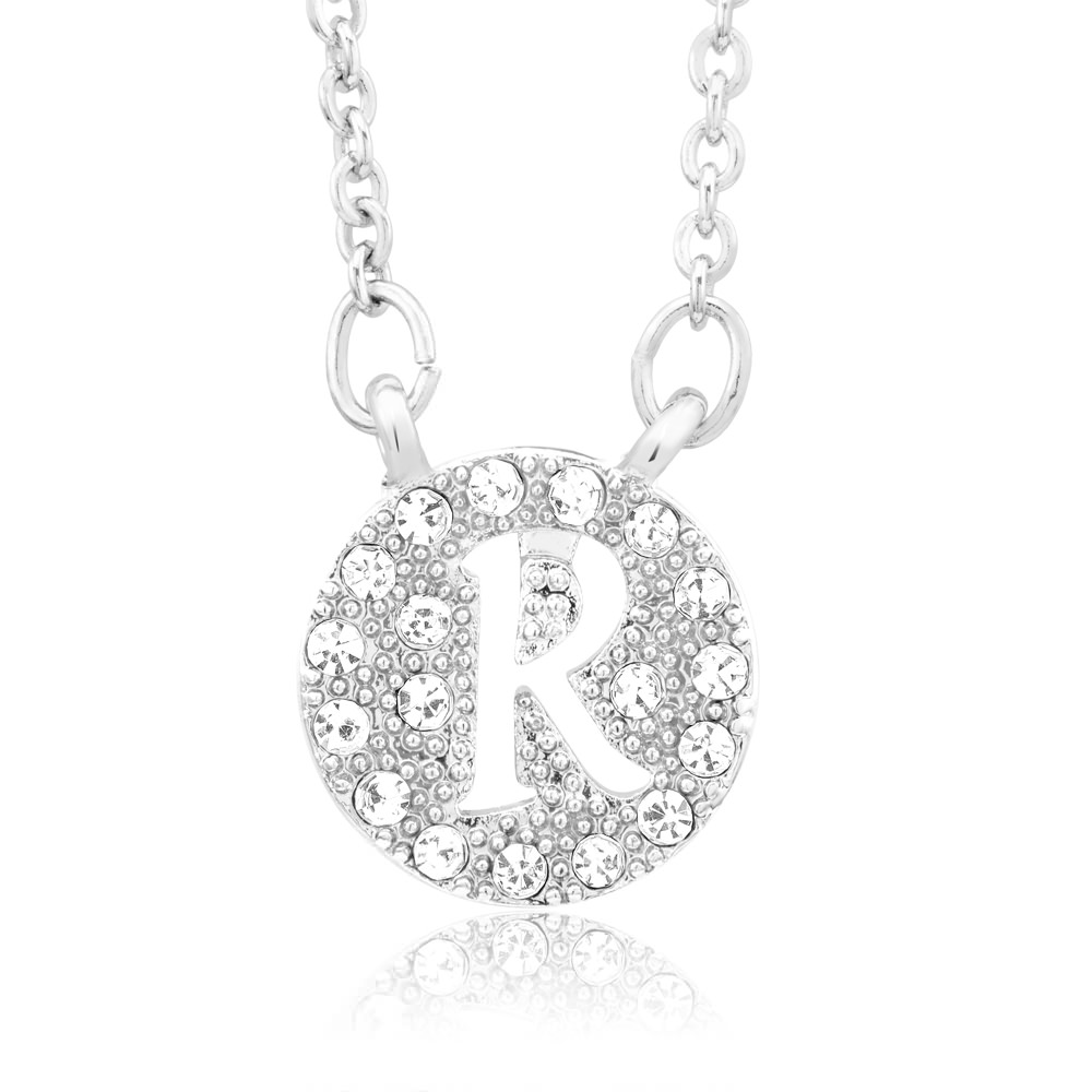 18kt White Gold Plated Swarovski Elements Initial Necklace - R