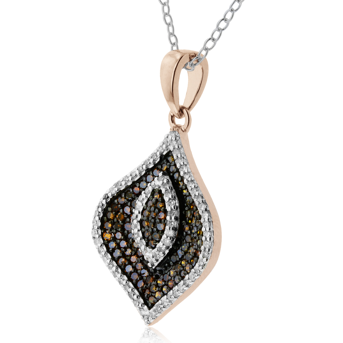 1 2ct Champagne and White Diamond Swirl Necklace In 14 Karat Rose Gold