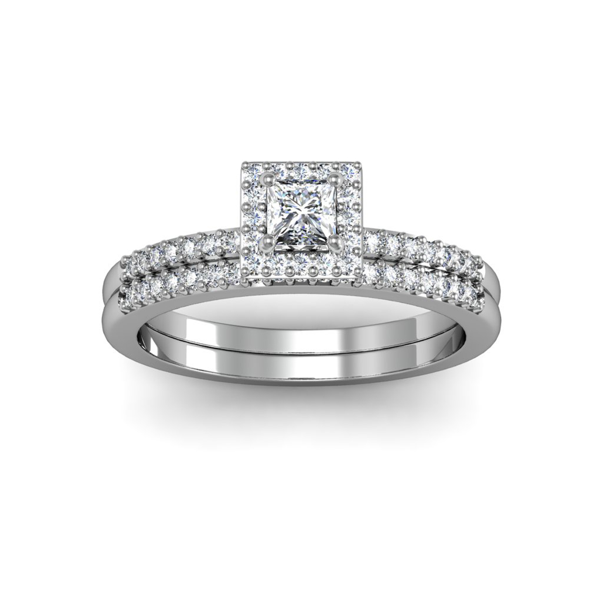 1 2 Carat Pave Princess Shape Diamond Bridal Set