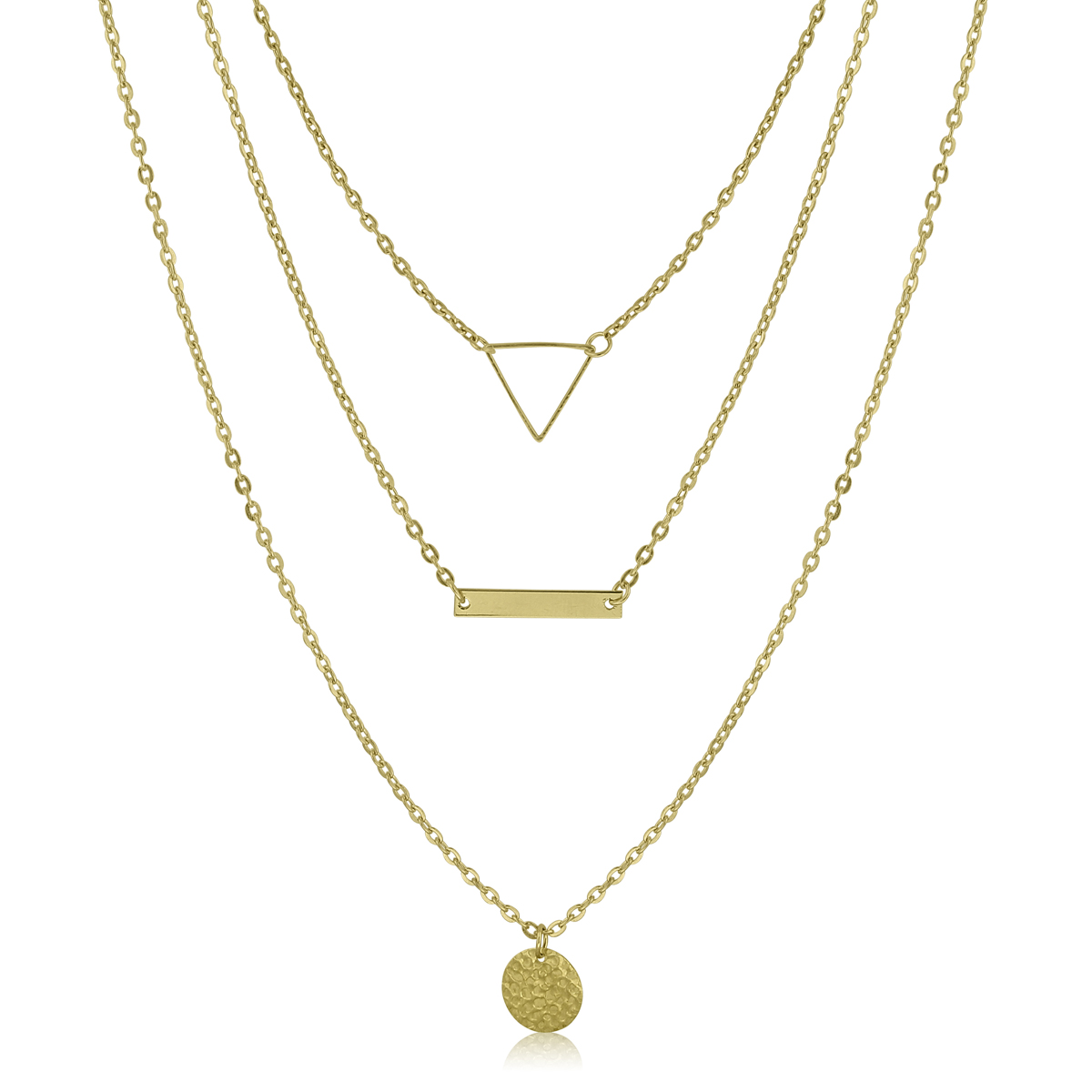 Gold Tone Triple Layer Necklace