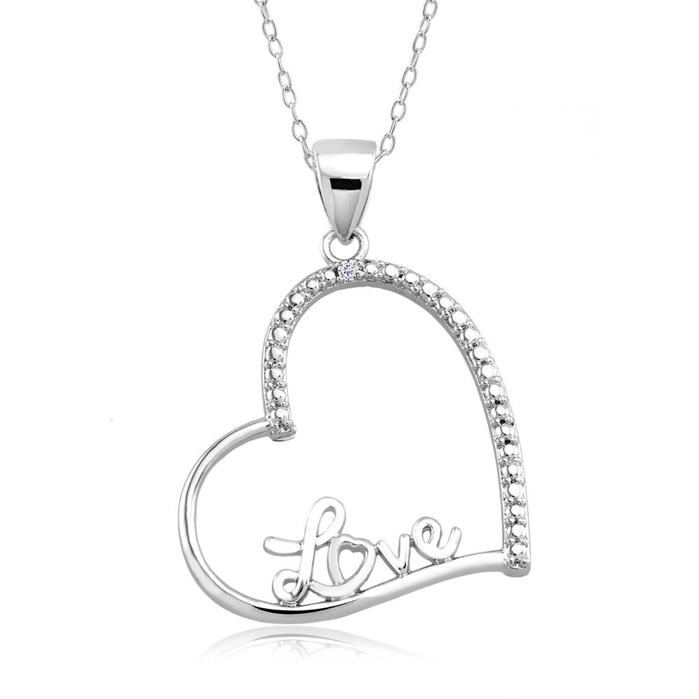 1 10 CTW Diamond Accent Necklace - Fancy Heart
