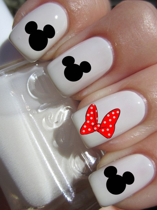 Mickey Mouse & Minnie Mouse Bow Nail Decals - BelleChic