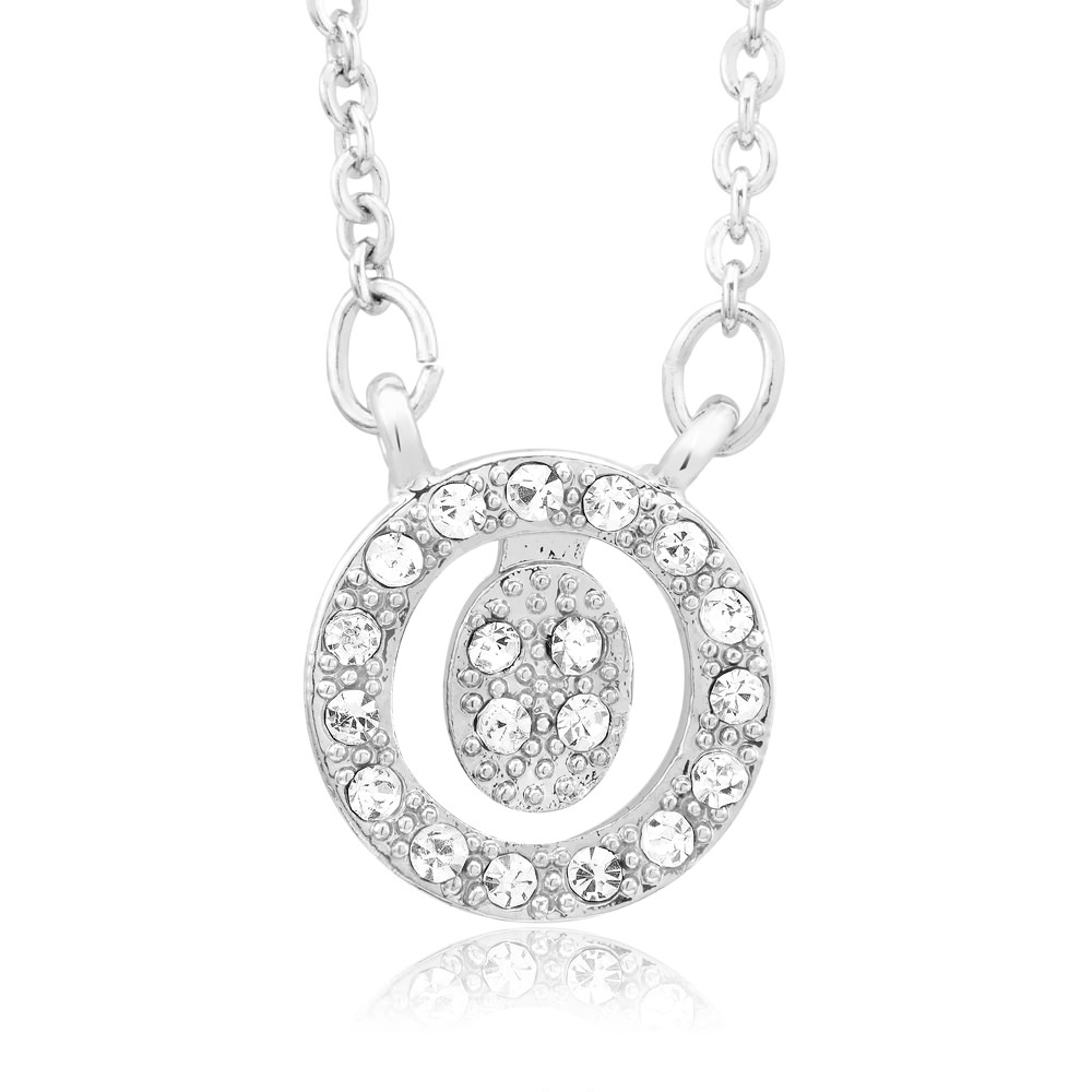 18kt White Gold Plated Swarovski Elements Initial Necklace - O