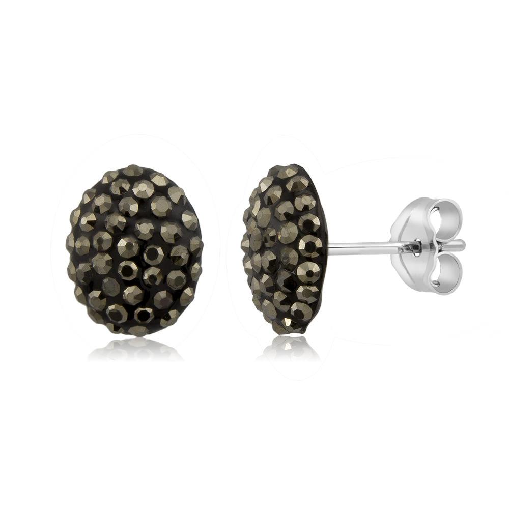 Sterling Silver Sparkling Crystal 10mm Stud Earrings - Oval Grey