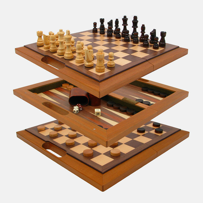 Deluxe wooden 3 in 1 chess backgammon checker set tanga - Deluxe chess sets ...