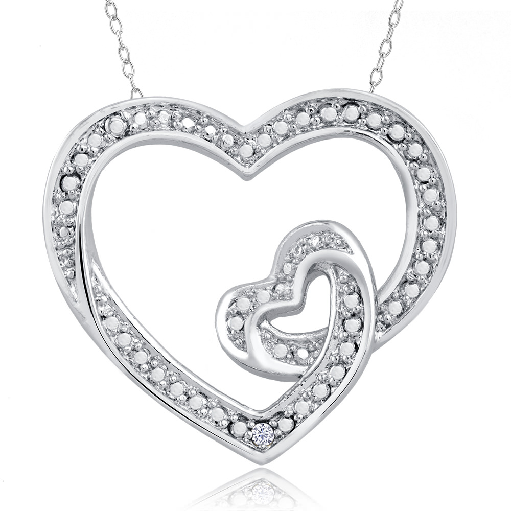.10 Ct Diamond Accent Necklace - Tangled Heart